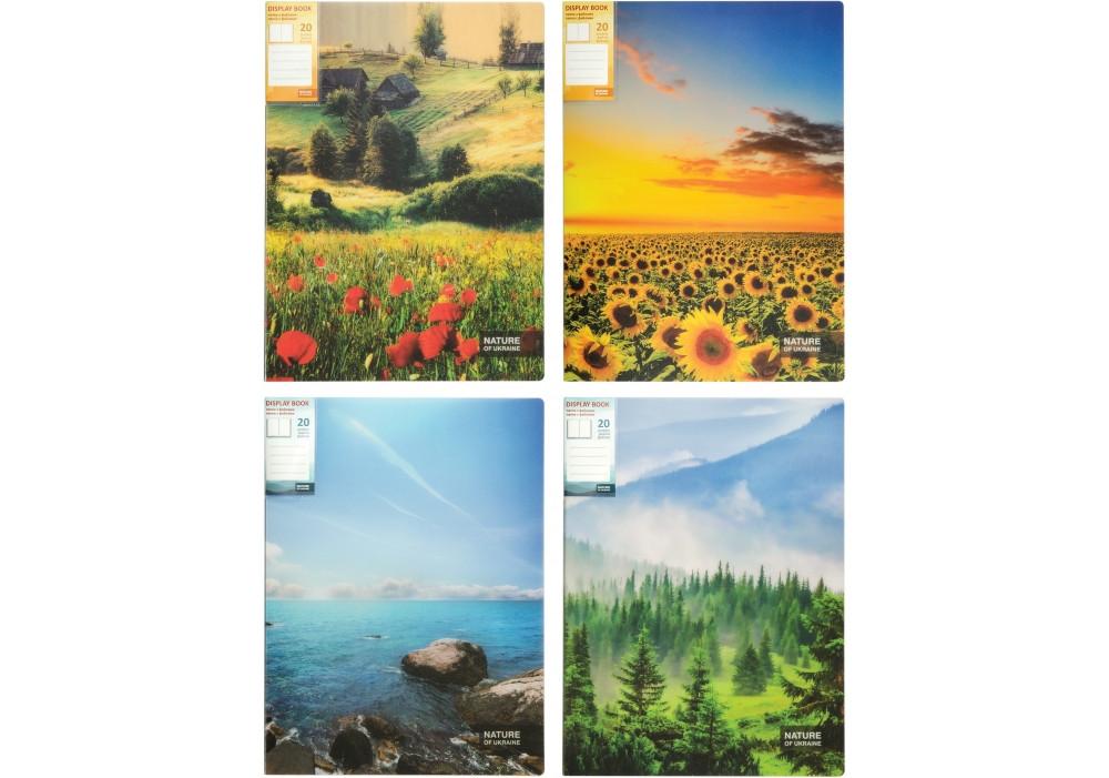 "Папка А4 с 20 файлами Optima ""Nature of Ukraine"", ассорти O32125"