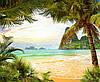 Фотоплитка Панно Остров Пальмы - керамическая плитка фреска