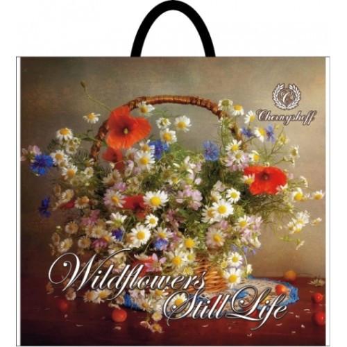 Полиэтиленовый пакет с пластиковой ручкой (сумка) ''Полевые цветы'' 380*340, 10 шт