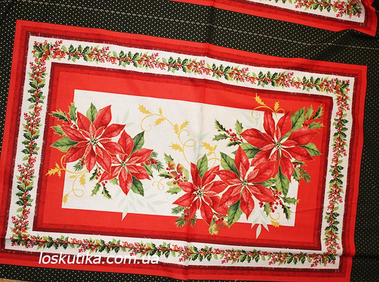 46016 Алое рождество. Ткань с новогодним рисунком. Декоративные ткани.