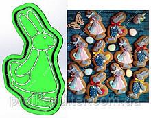 Набор Пластиковая вырубка + трофарет Зайка с яйцом за спиной