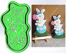 Набор Пластиковая вырубка + трофарет Заец на яйце с цветочком в руках