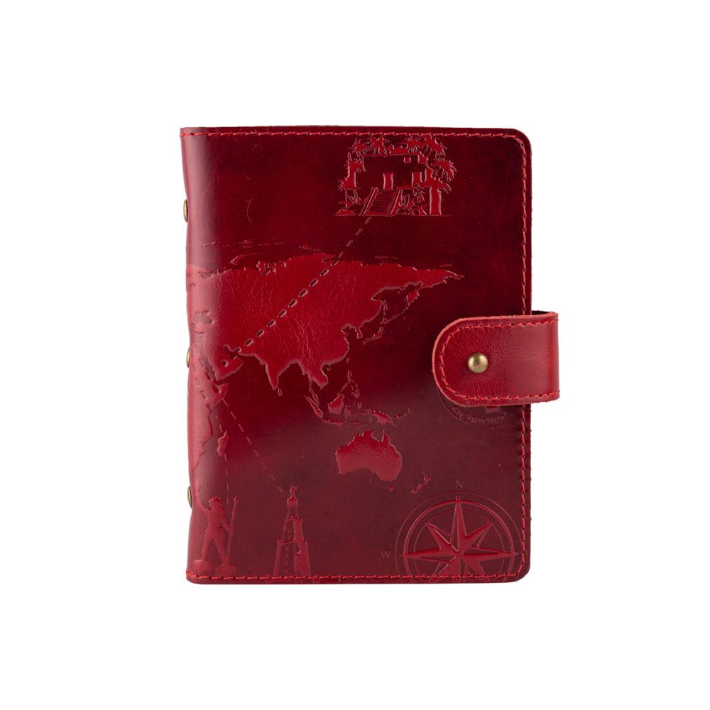 """Универсальная визитница красного цвета с натуральной глянцевой кожи на кобурном винте, с авторским тиснением """"7 Wonders"""""""