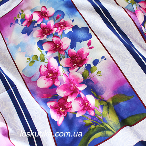 42016 Орхидея (купон). Ткани с цветочным принтом. Квилтинговый хлопок для шитья и рукоделия.