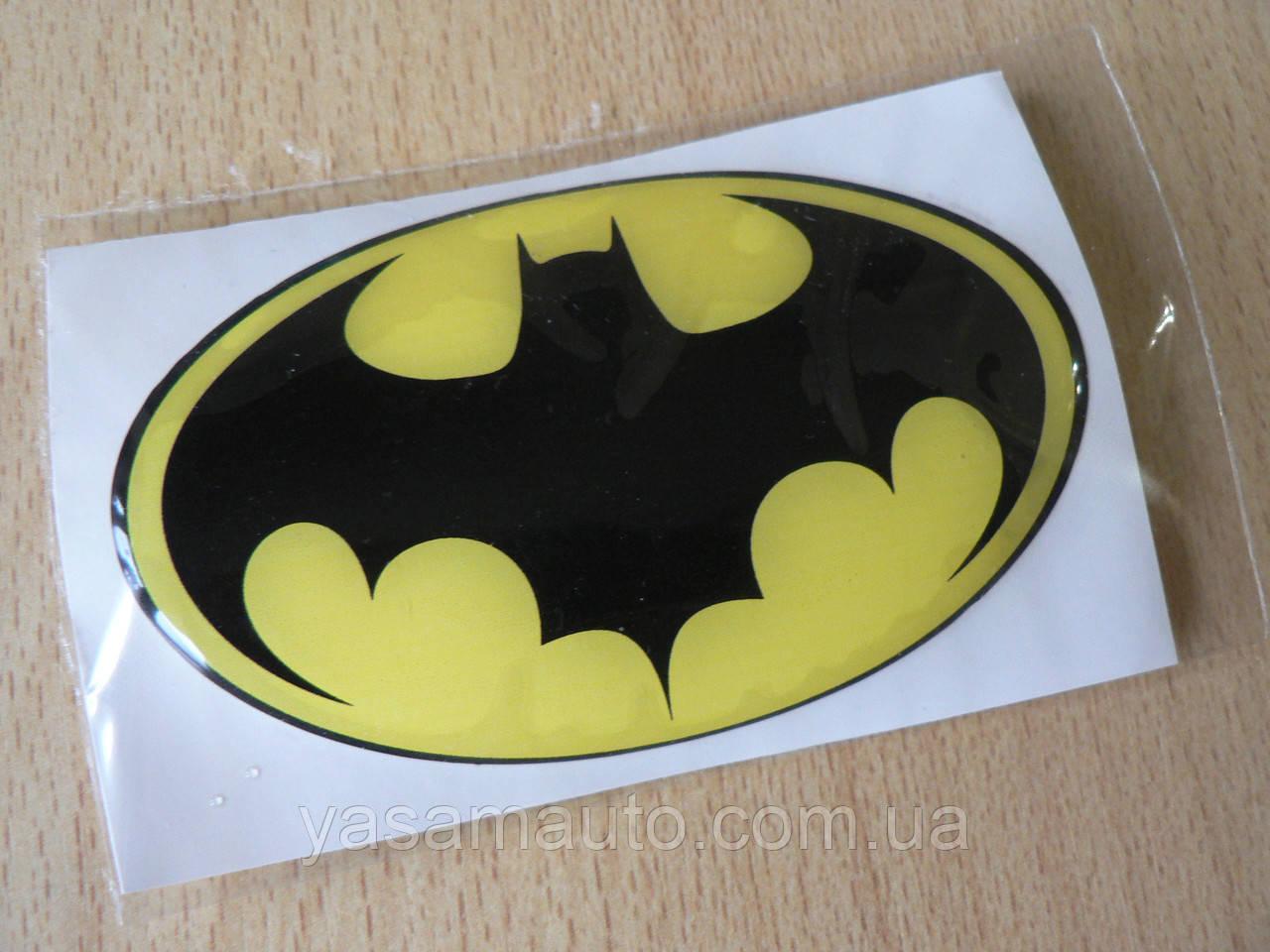 Наклейка s силиконовая супергерой Batman 90х57х1.2мм желтая овал Человек летучая мышь Бэтмен Бетман на авто