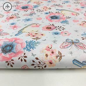 """Польская хлопковая ткань """"птички, бабочки и цветочки розово-голубые на белом"""", фото 2"""