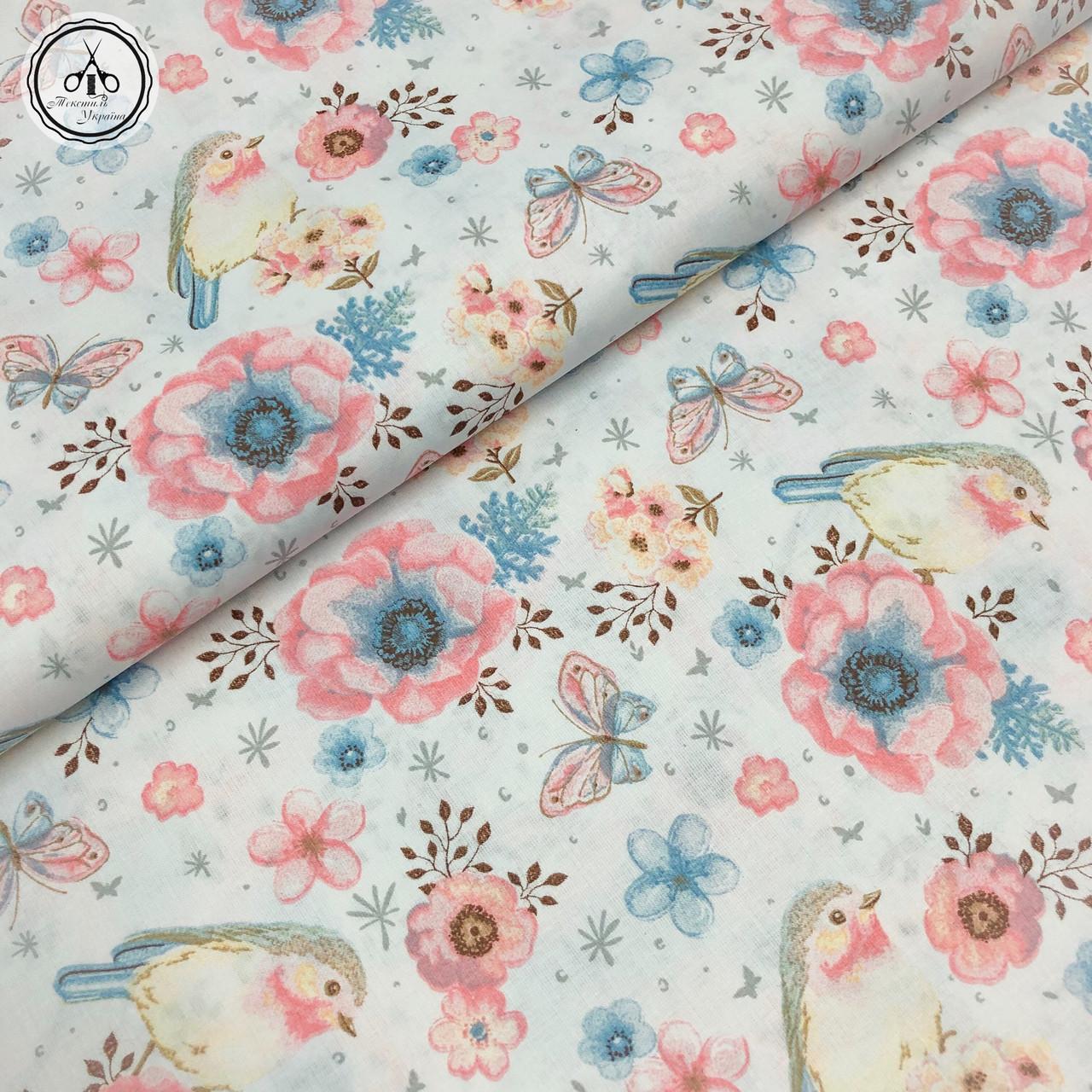 """Польская хлопковая ткань """"птички, бабочки и цветочки розово-голубые на белом"""""""