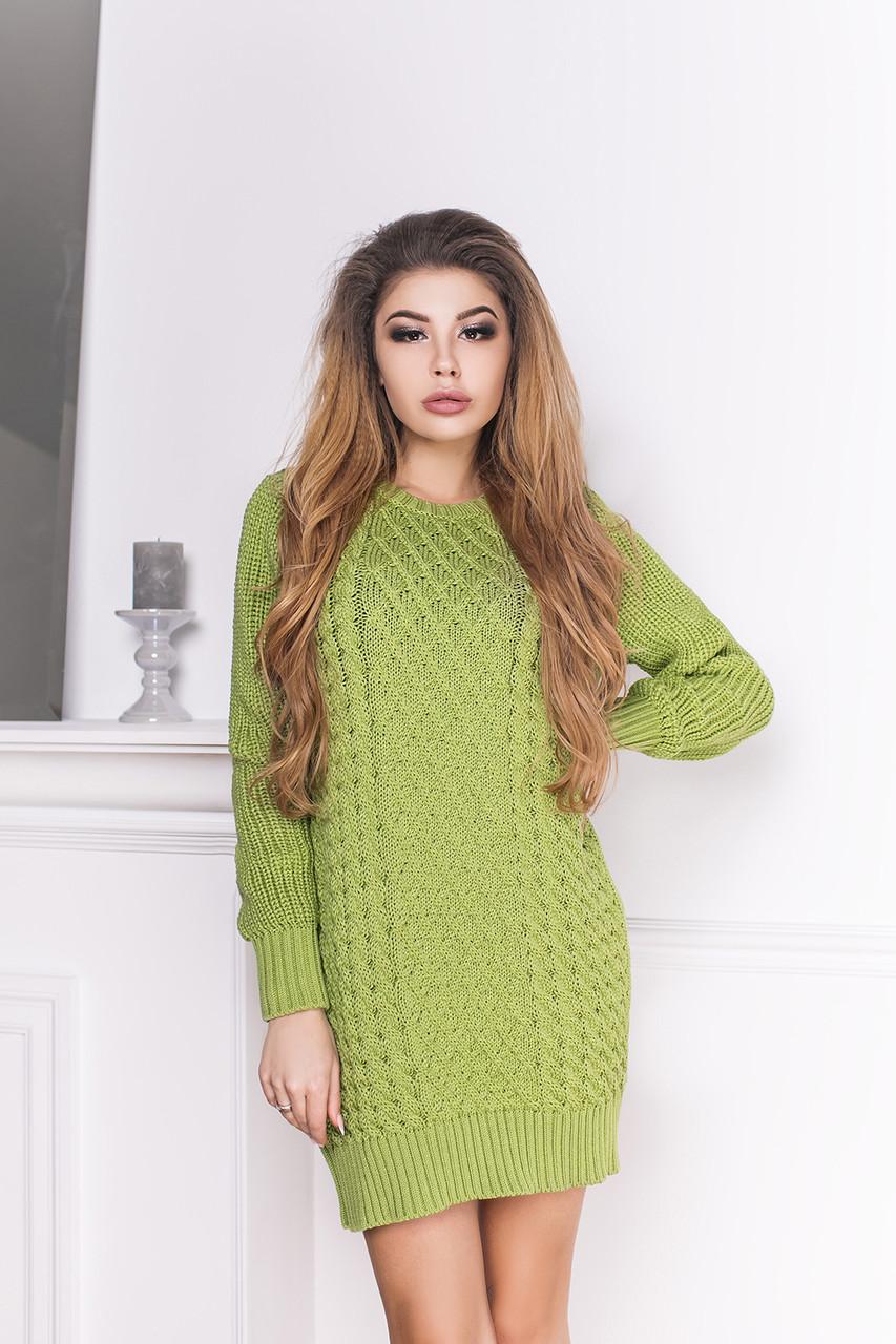 короткое вязаное платье Loon с длинным рукавом 3 цвета цена 773