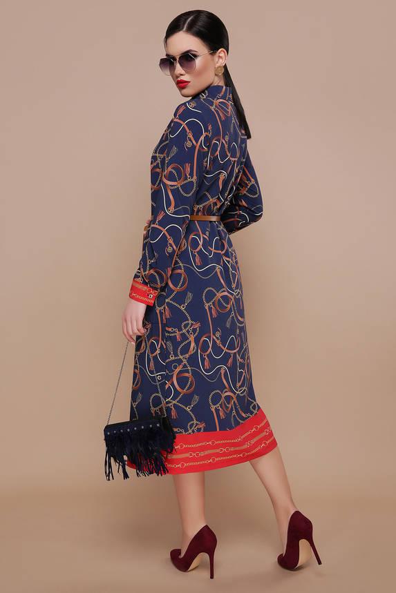 """Платье рубашка нарядное с принтом """"Цепи"""" и поясом, фото 2"""