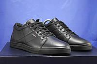 Мужские кожаные мокасины,туфли на шнурках черные