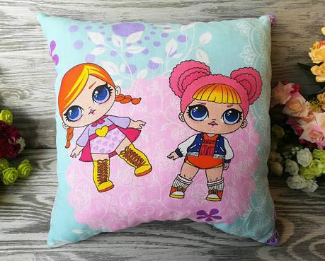 Подушка две куклы Лол  , 35см * 35 см, фото 2