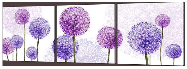 Модульная картина Interno Эко кожа Цветы разноцветные 163х53см (А960XL)
