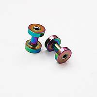 Тоннель для пирсинга ушей 3 мм диаметр. Медицинская сталь, цветное анодирование.(цена за 1шт), фото 1