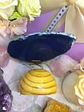Бабочка синяя из агата на подставке №1, фото 3