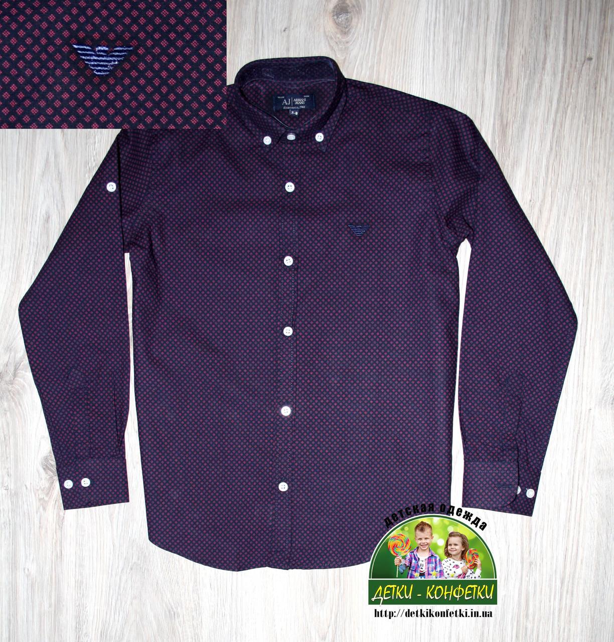Стильная рубашка ARMANI с длинным рукавом для мальчика 7-8 лет, темно-синяя