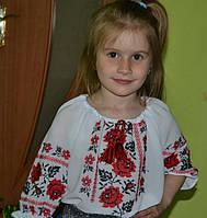 Вышиванка  для девочки Красные розы на шифоне белая на 9,10,11,12 лет