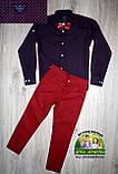 Стильная рубашка ARMANI с длинным рукавом для мальчика 7-8 лет, темно-синяя, фото 4
