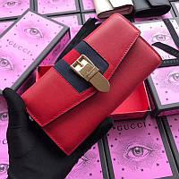 Женский кожаный клатч портмоне Gucci Гуччи Original quality Красный с фирменным логотипом