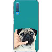 Оригинальный чехол накладка для Samsung A750F Galaxy A7 2018 с картинкой Мопс на телефоне