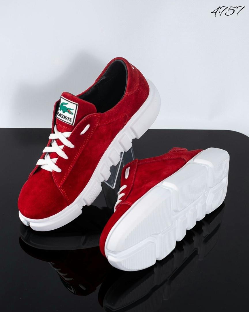Женские замшевые кроссовки (красный)