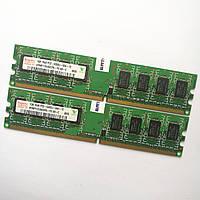 Комплект оперативной памяти Hynix DDR2 2Gb (1Gb+1Gb) 667MHz PC2 5300U 1R8 CL5 (HYMP112U64CP8-Y5 AB-C) Б/У, фото 1