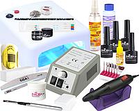 Стартовый набор для наращивания и дизайна с УФ лампой и фрезером для маникюра Lina Mercedes
