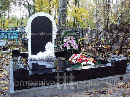 Памятник с мраморными розами №14