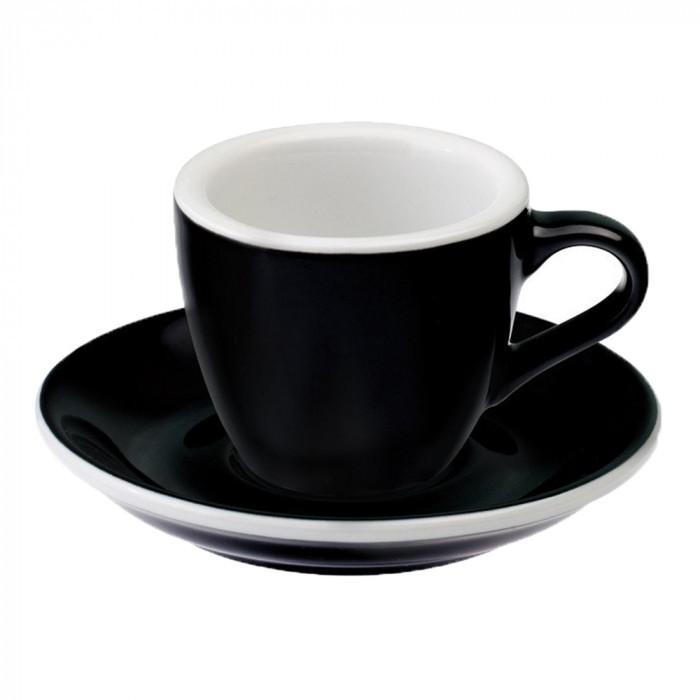 Чашка и блюдце под эспрессо Loveramics Egg Black (80 мл)