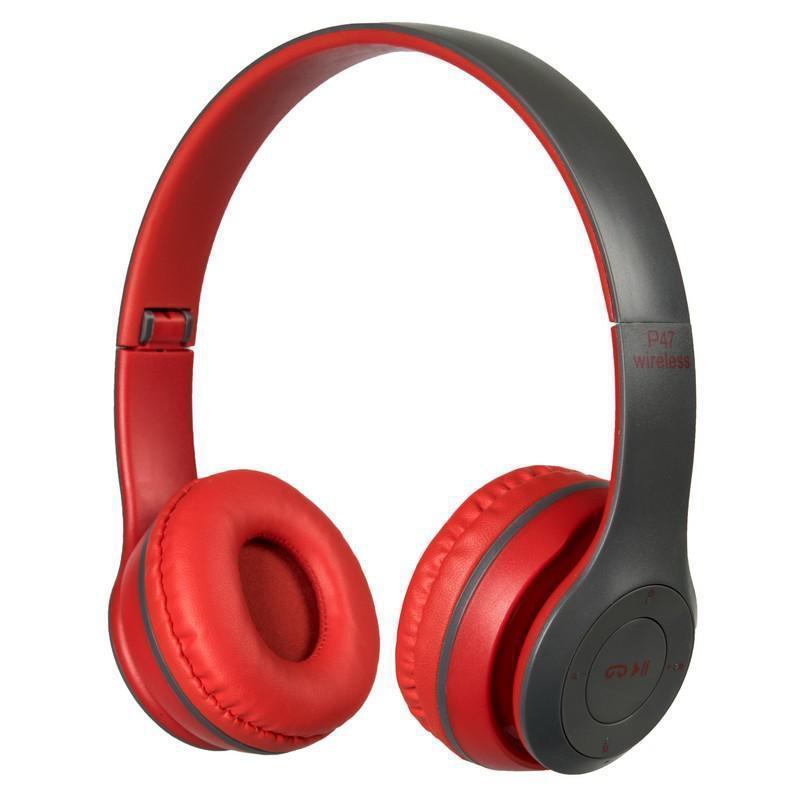 Навушники безпровідні bluetooth microSD Mp3 MDR P47 BT, червоно-сірі