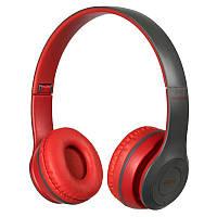 Навушники безпровідні bluetooth microSD Mp3 MDR P47 BT, червоно-сірі, фото 1