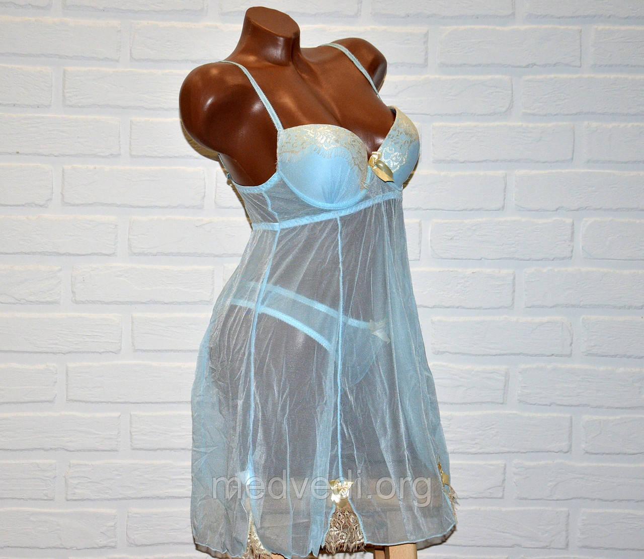 Світло-блакитний комплект відвертого, прозорого жіночої білизни, пеньюар і труси стрінги, розмір L
