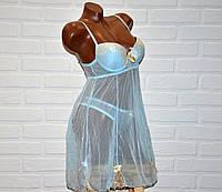 Светло-голубой комплект откровенного, прозрачного женского белья, пеньюар и трусы стринги, размер L
