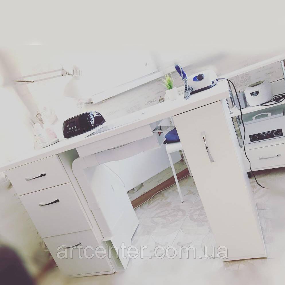 """Стол для маникюра с ящиком """"карго"""" и тремя выдвижными ящиками, белого цвета"""