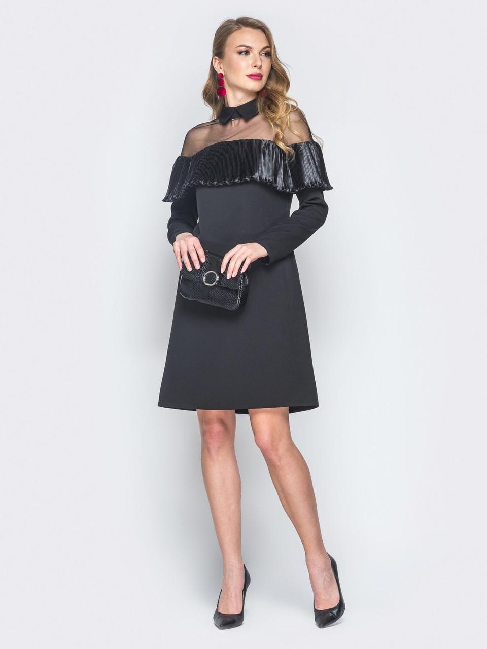 c7453add209 🔘️Элегантное черное платье с отложным воротником (миди ...