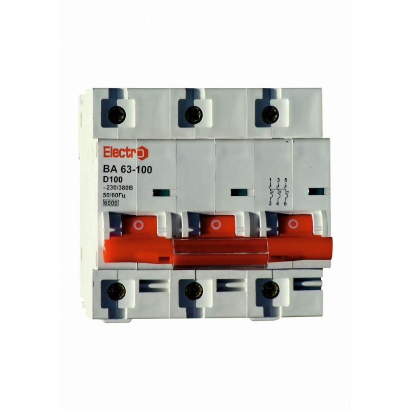 Автоматический выключатель 3 полюсный 100 А ВА63-100 6 кА D