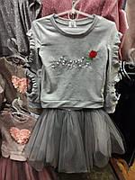Нарядный костюм  для девочки  с  вставками на рукаве   размер 116/140 опт и розница
