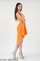 Яркое летнее ассиметричное платье на бретелях с юбкой воланом  Jaden