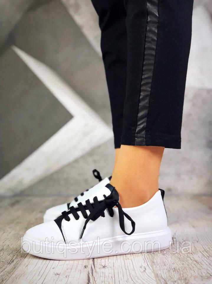 Женские кеды белые + черный City Sport на оригинальной шнуровке, натуральная кожа