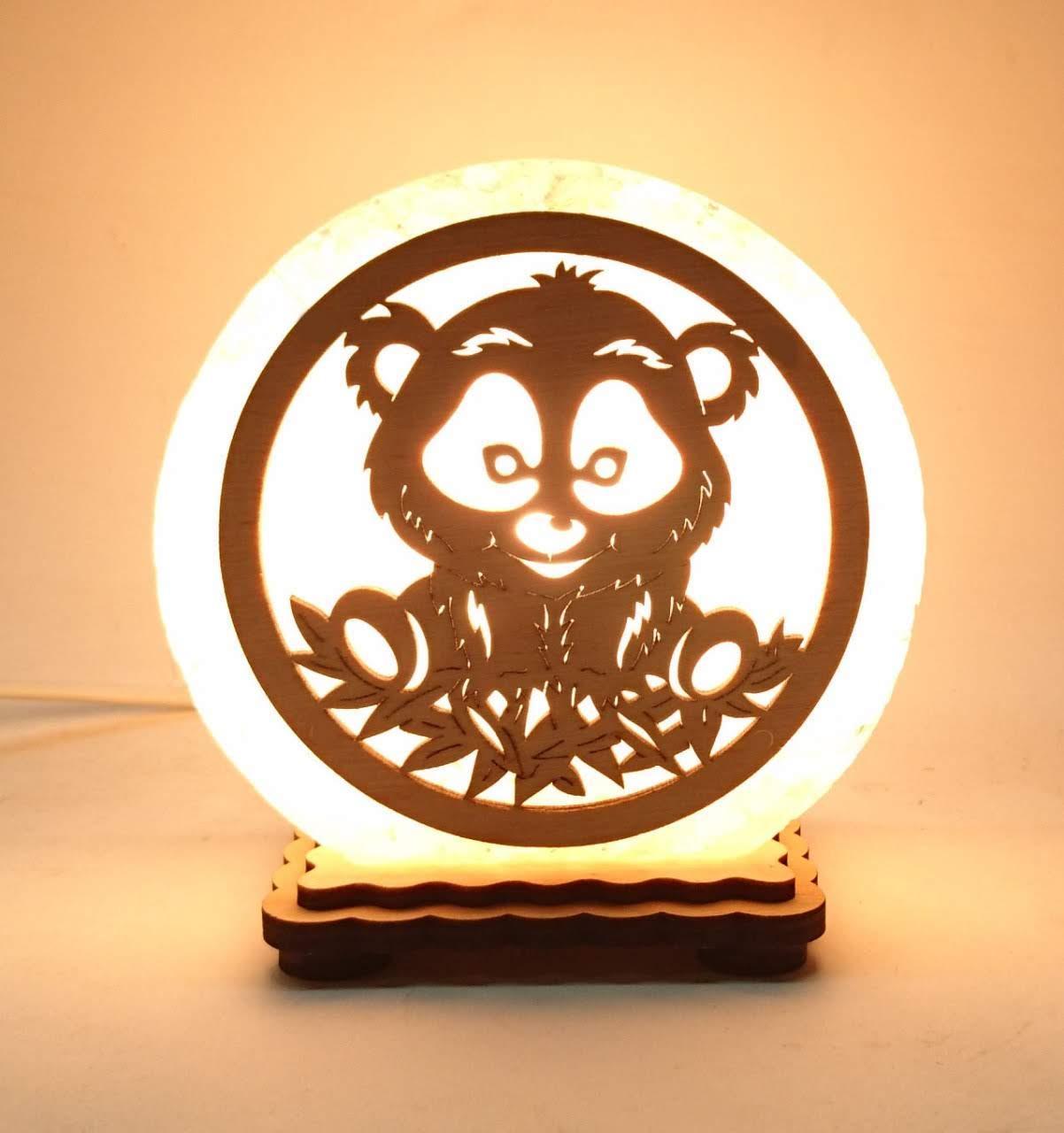 """Соляная лампа круглая маленькая """"Панда"""""""