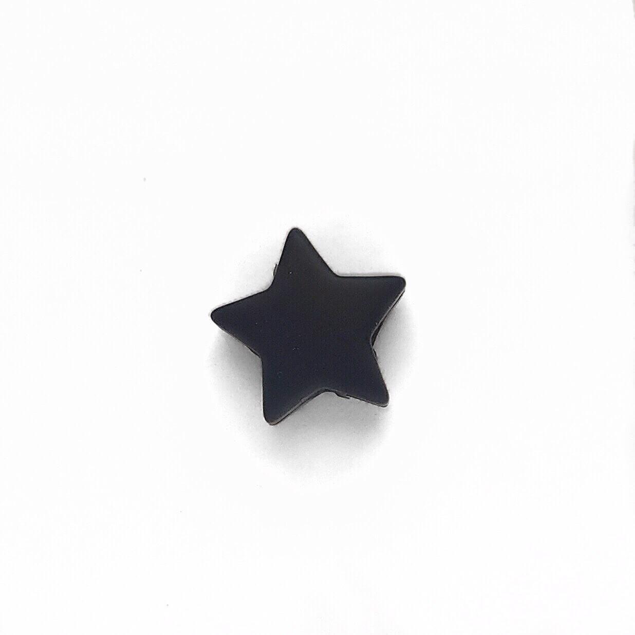 Мини звездочка (черная) бусина из пищевого силикона
