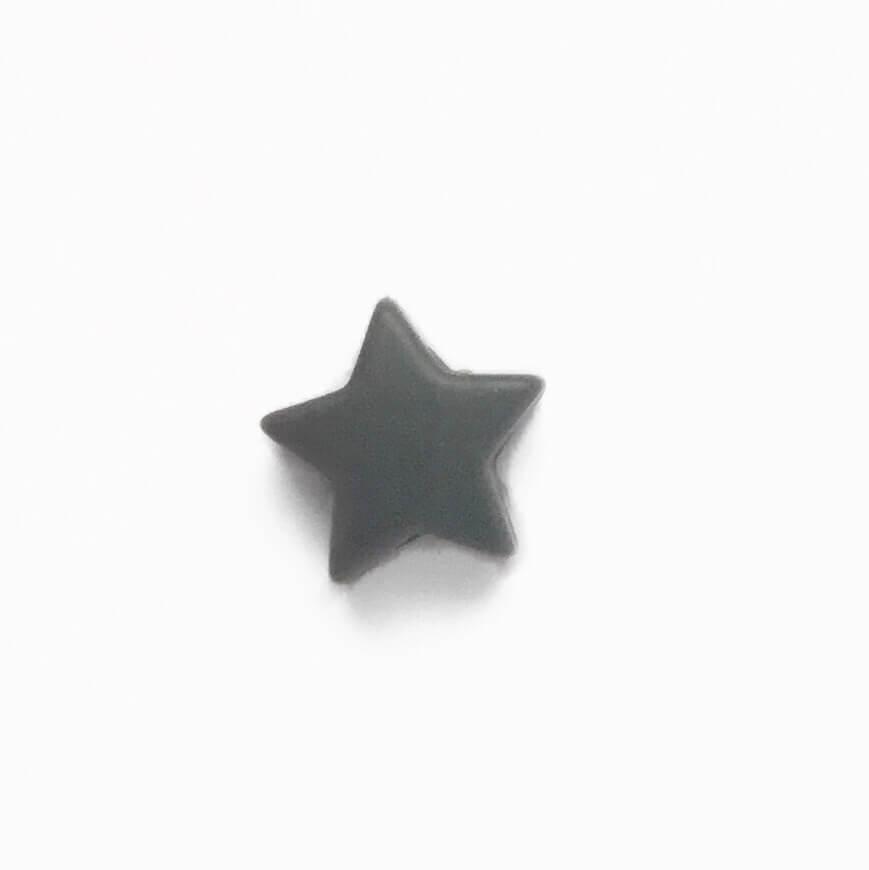 Мини звездочка (темно серый) бусина из пищевого силикона