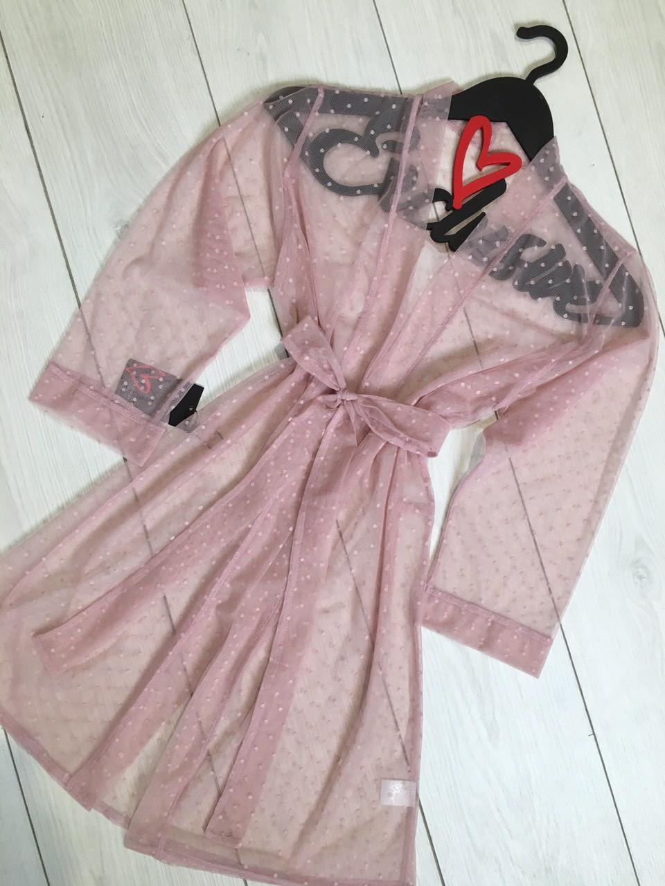 Халат цвет пудра,прозрачный женский халат под пояс 086