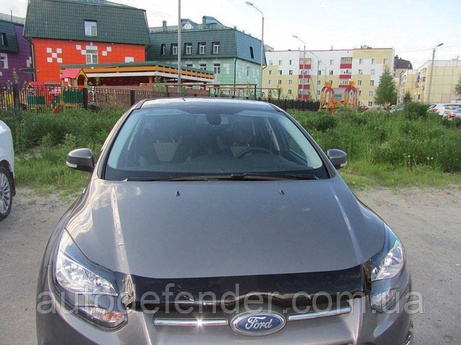 Дефлектор капота (Люкс!) мухобойка Ford Focus III 2011-2015, SIM, SFOFO31112