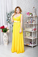 Платье шифон жёлтое в пол