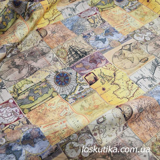 49003 Атлас мира. Пожелтевшие страницы.. Ткань в стиле винтаж. Декоративная ткань для творчества.