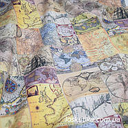 49003 Атлас мира. Пожелтевшие страницы.. Ткань в стиле винтаж. Декоративная ткань для творчества., фото 3
