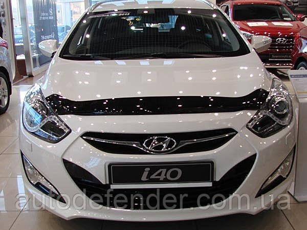 Дефлектор капота (Люкс!) мухобойка Hyundai i40 2011-2021, SIM, SHYI401112