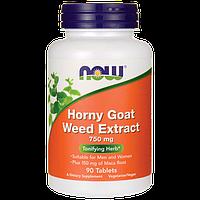 Экстракт горянки (трава похотливого козла) / NOW - Horny Goat Weed 750mg (90 tabs)
