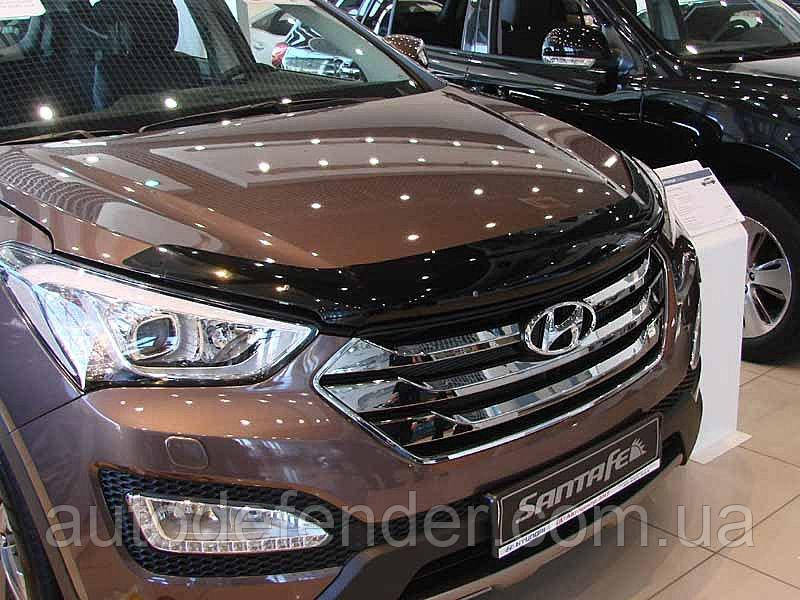 Дефлектор капота (Люкс!) мухобойка Hyundai Santa Fe 2012-2018 +Grand SIM, SHYSAN1212