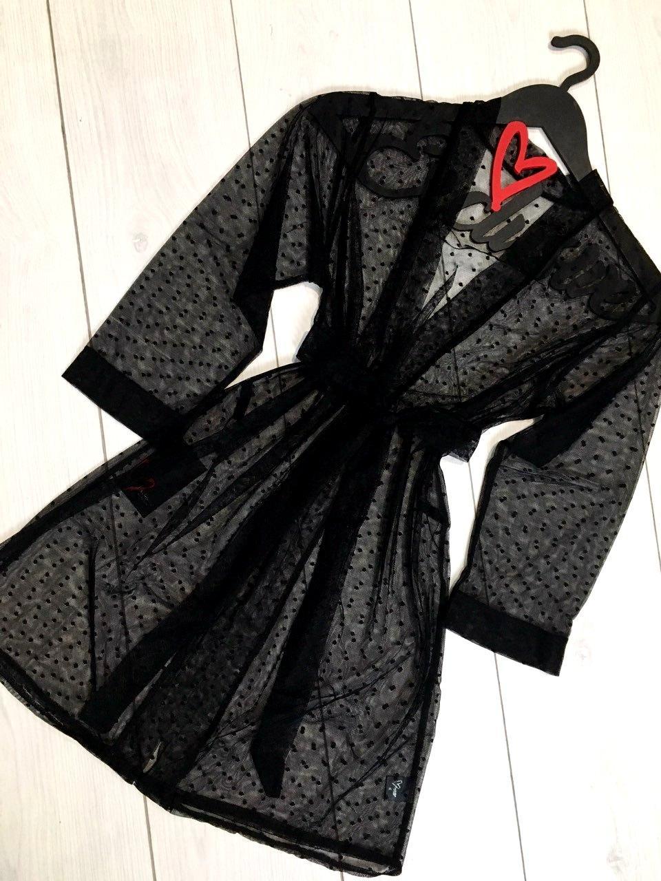 Черный женский короткий халат ТМ Exclusive